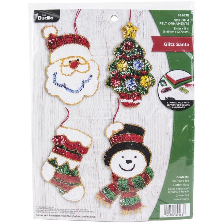 Bucilla Glitz Santa Felt Applique Ornaments Kit