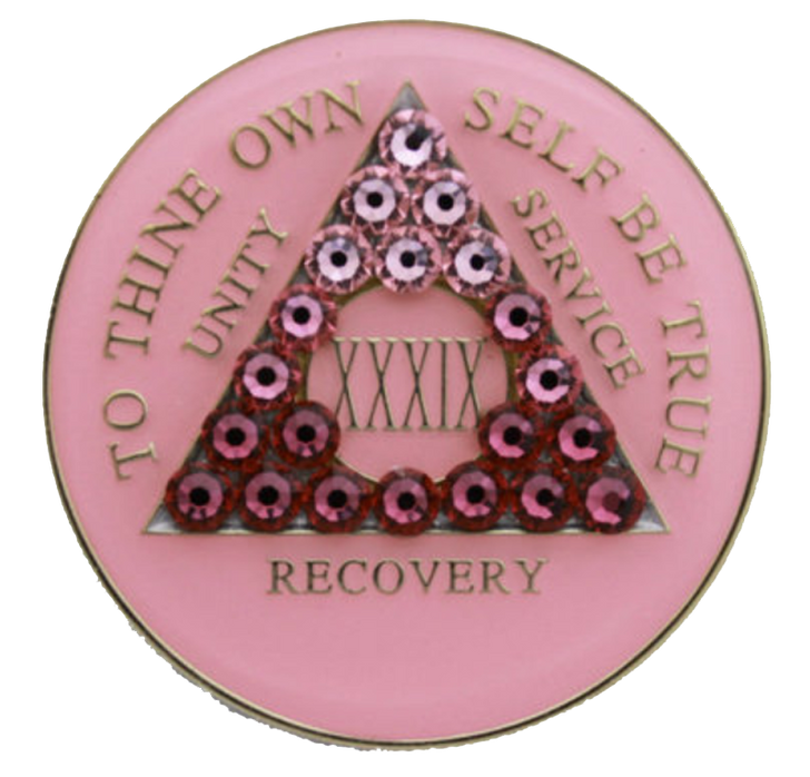"""Alcoholics Anonymous """"AA"""" Tri-Plate Year Coin - Transition Crystallized Pink"""