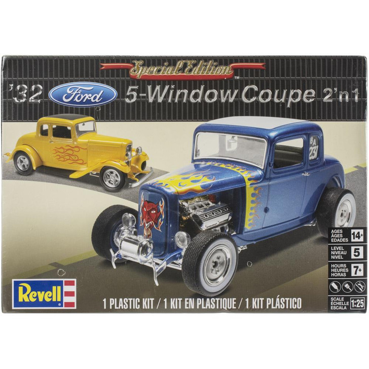 Revell Plastic Model Kit - '32 Ford 5 Window Coupe 2 In 1 1:25