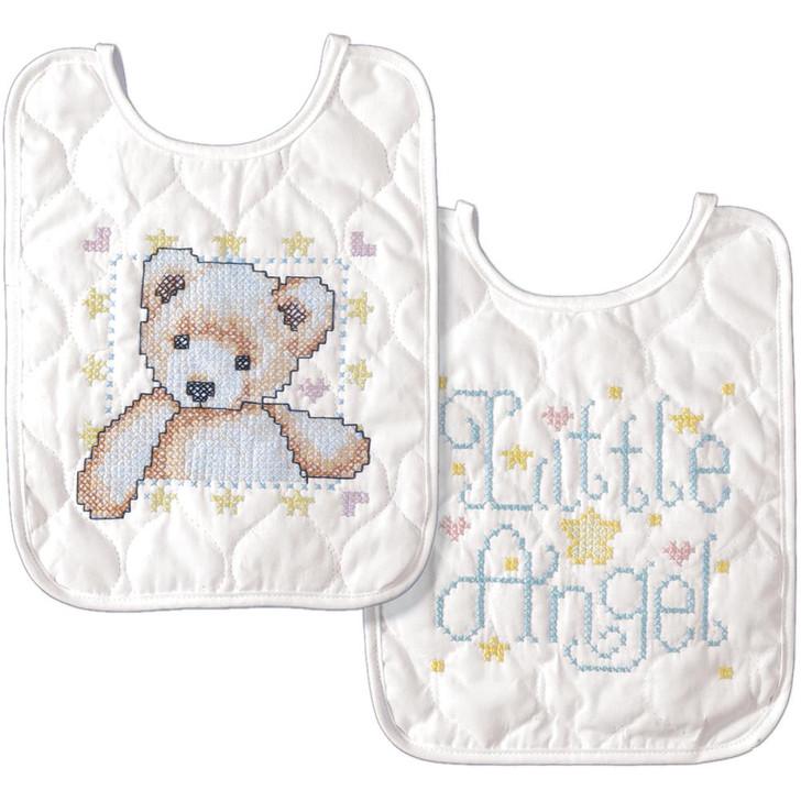 Tobin Stamped Cross Stitch Bib Pair Kit - Bear & Angel