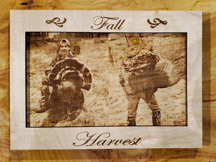 Laser Etched Interchangeable Wooden Photo & Frame - Fall Harvest