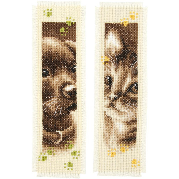 Vervaco Counted Cross Stitch Kit - Cat & Dog Bookmarks