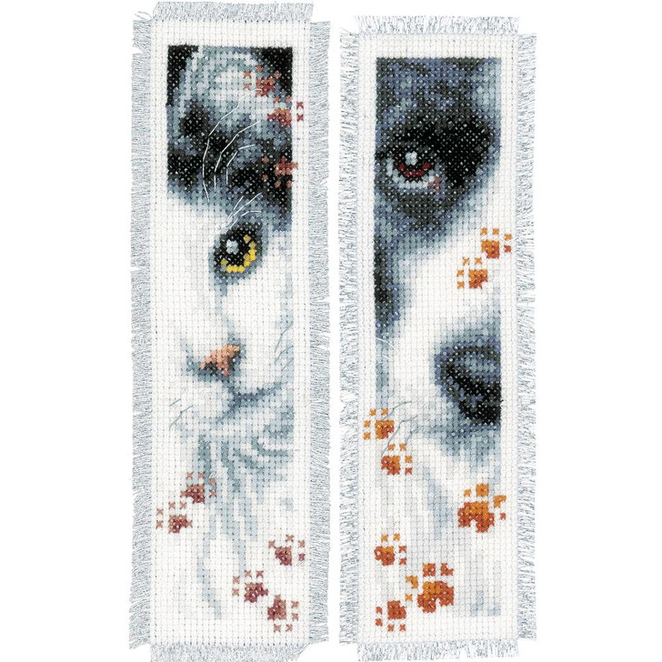 Vervaco Counted Cross Stitch Kit - Dog & Cat Bookmarks