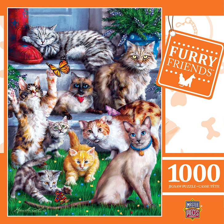 MasterPieces 1000 Pc. Jigsaw Puzzle - Furry Friends Butterfly Chasers