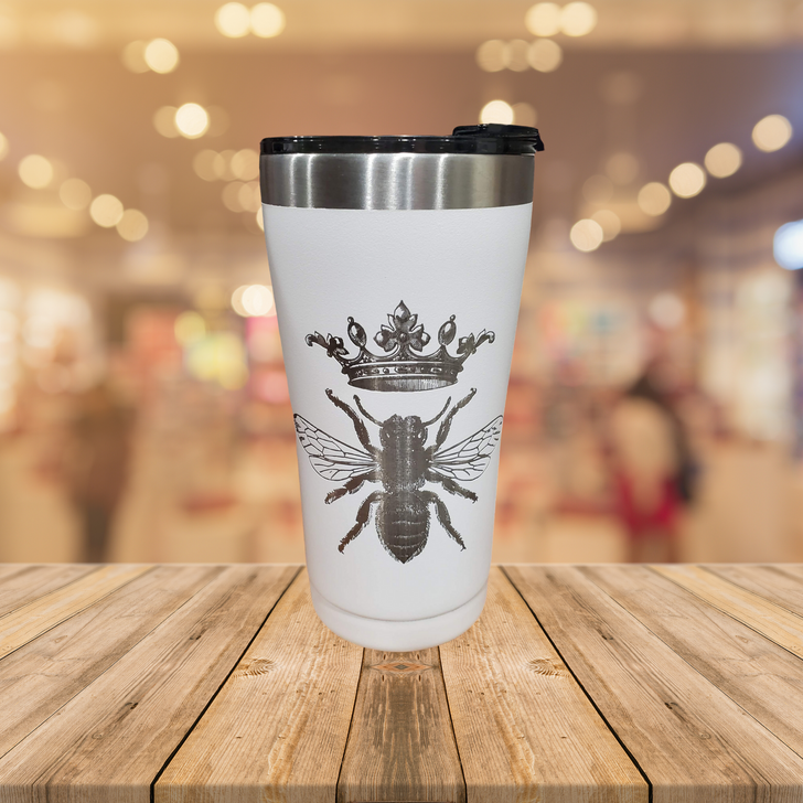 Laser Etched Double-Wall 20oz Tumbler - Queen Bee