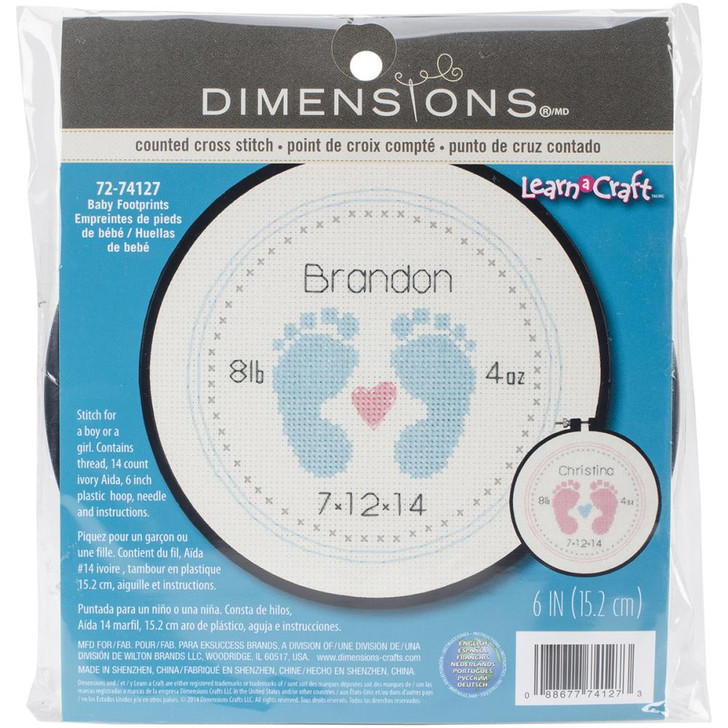 Dimensions Baby Footprints Learn-A-Craft Counted Cross Stitch Kit