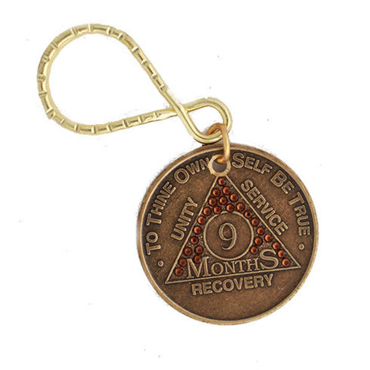 .AA Bronze Month/Year Crystallized Key Tag