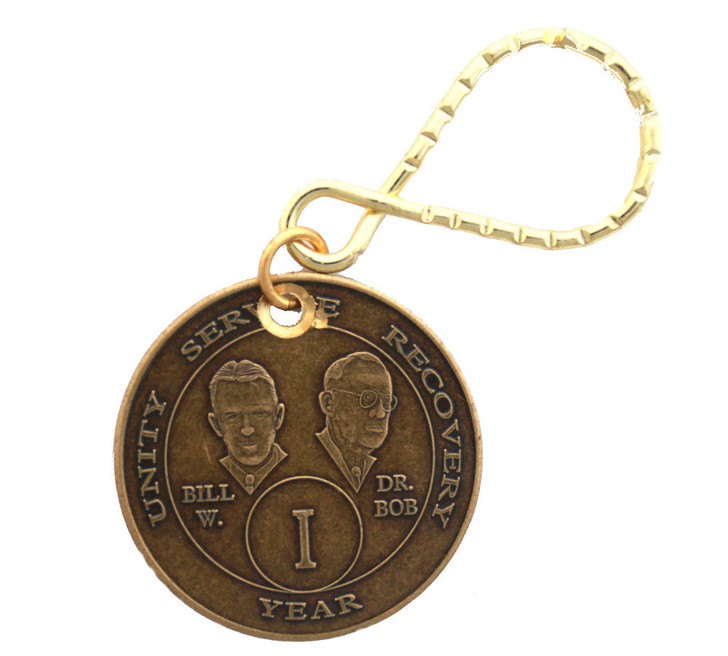 .AA Bronze Bill & Bob Month/Year Key Tag