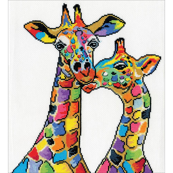Design Works Counted Cross Stitch Kit - Colorful Giraffes