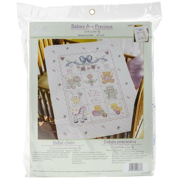 Bucilla Babies Are Precious Stamped Cross Stitch Crib Cover Kit