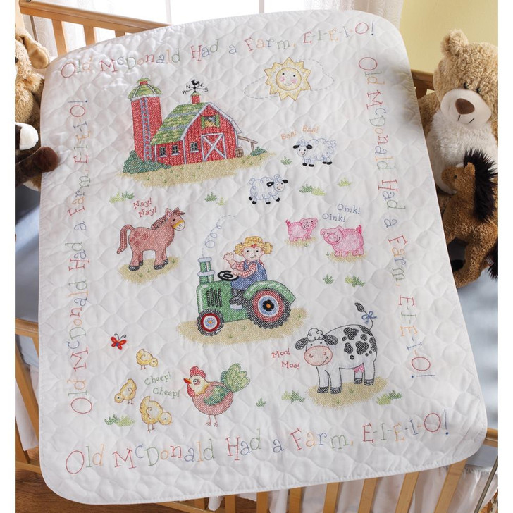 Bucilla On The Farm Stamped Cross Stitch Crib Cover Kit