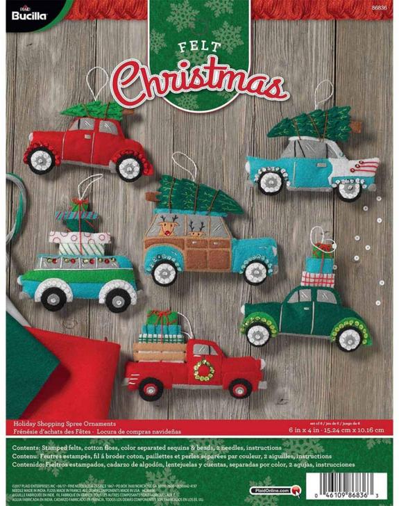 Bucilla Holiday Shopping Spree Felt Applique Ornaments Kit