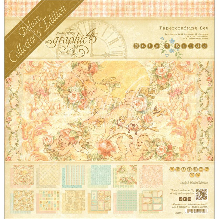 """Graphic 45 Deluxe Collector's Edition Paper Pack 12""""X12"""" - Baby 2 Bride"""