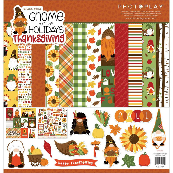 """PhotoPlay Collection Pack 12""""X12"""" - Gnome For Thanksgiving"""