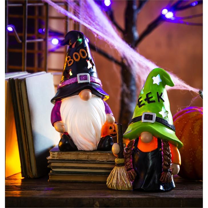 Evergreen Ent. Resin LED Color Changing Halloween Gnomes 2/Pkg