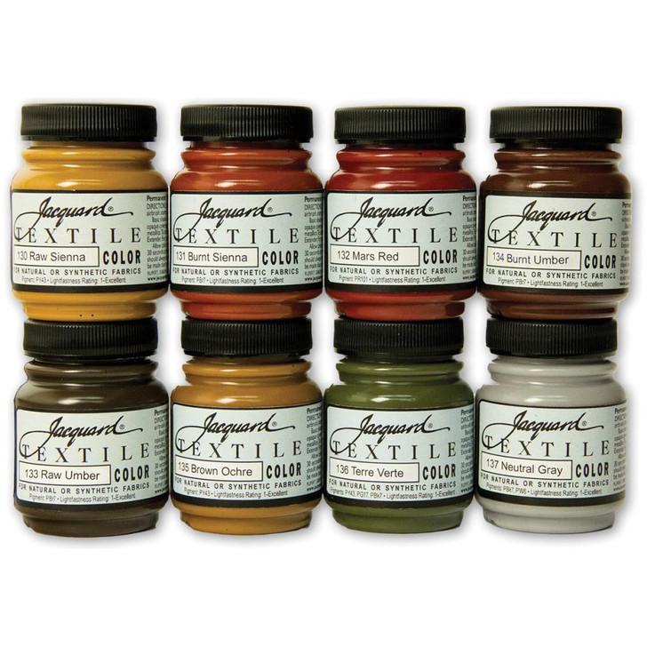 Jacquard Textile Color Fabric Paint 2.25oz 8/Pkg - Earth Tones