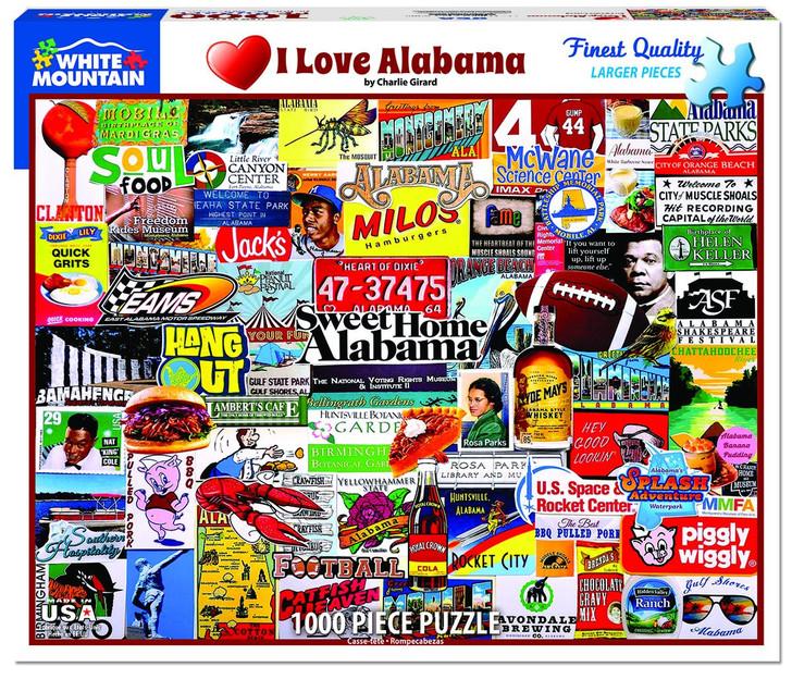 White Mountain 1000 Pc. Jigsaw Puzzle - I Love Alabama