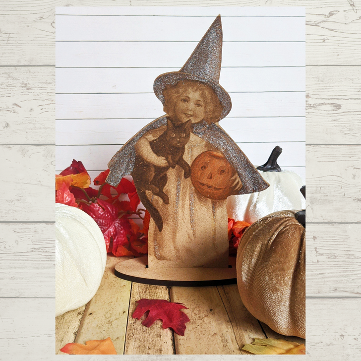 Laser Etched Victorian Halloween Witch Little Girl
