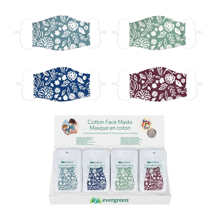 Evergreen Adult Antimicrobial Floral Face Mask