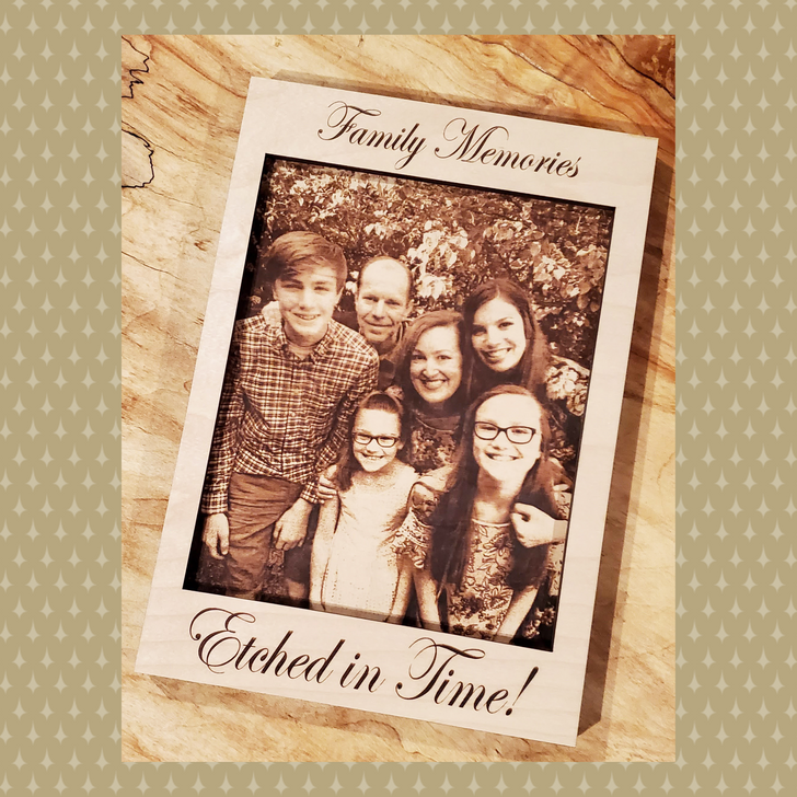 Laser Etched Interchangeable Wooden Photo & Frame - 12.5""