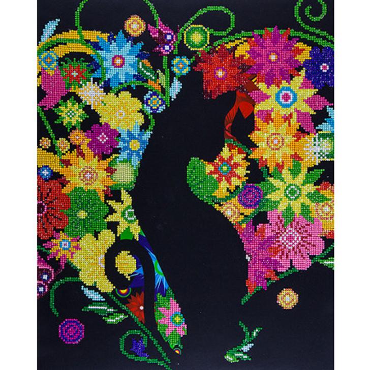 Leisure Arts Diamond Art Advanced Kit - Black Cat Floral