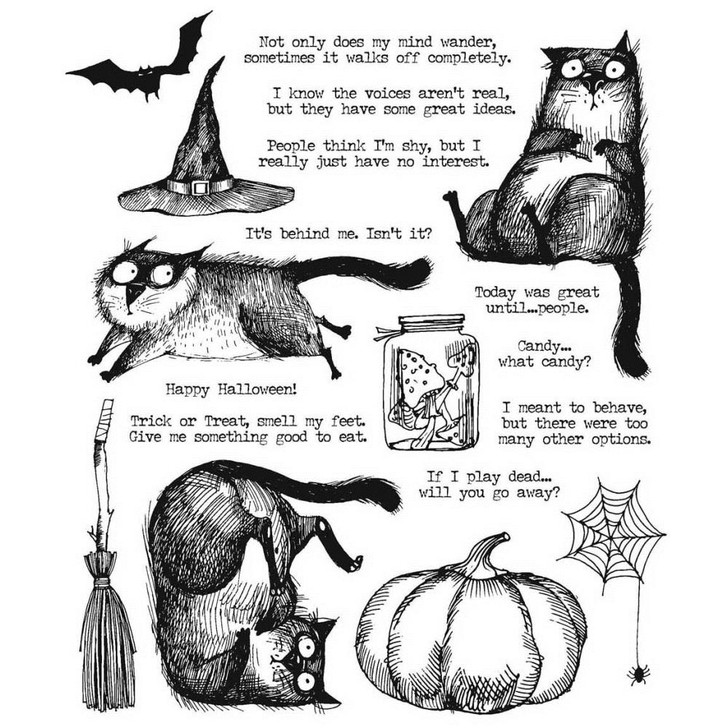 Tim Holtz Snarky Cat Halloween Cling Stamps
