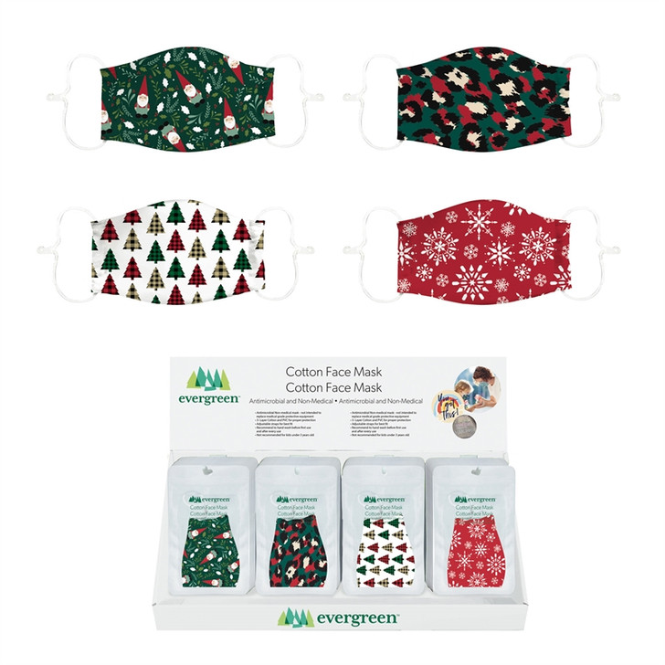 Evergreen Adult Antimicrobial Holiday Face Mask