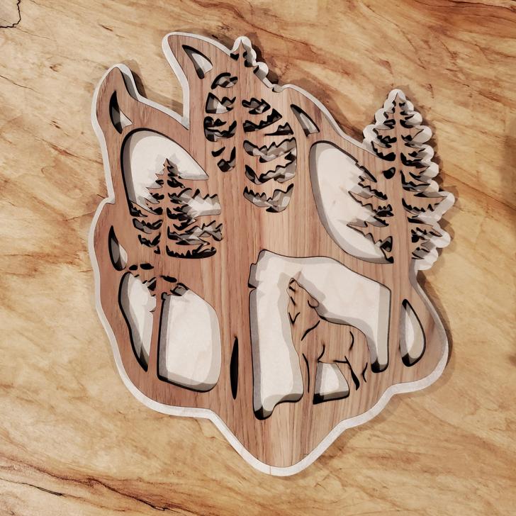 Wolf Paw Print Laser Cut Wall Art