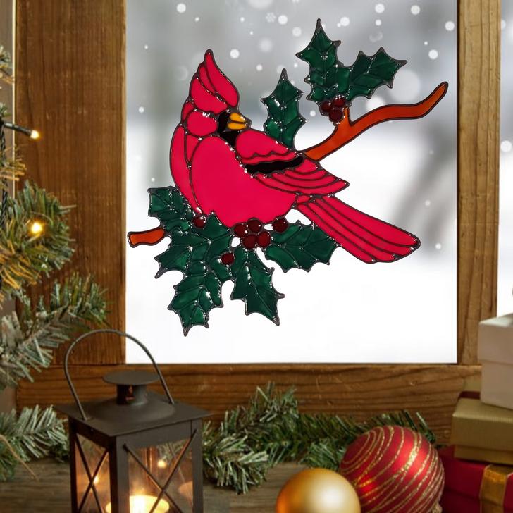 Christmas Cardinal Window Cling