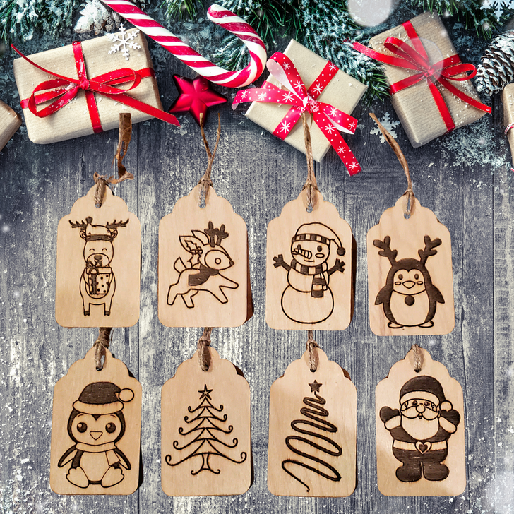 Christmas Laser Etched Gift Tags