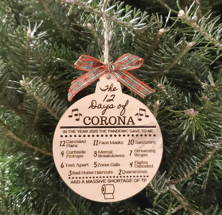 Christmas 12 Days of Corona Laser Etched Ornament