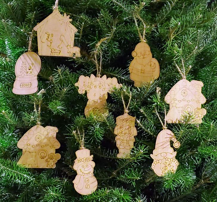 Christmas Color/Paint Your Own Ornaments Set 9/Pkg ~ Laser Engraved