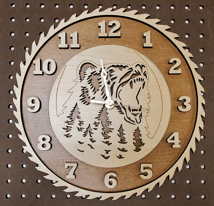 Bear Saw Blade Laser Cut Clock