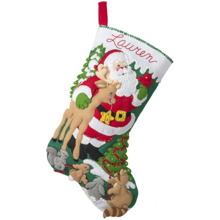 Bucilla Forest Greetings Felt Applique Stocking Kit