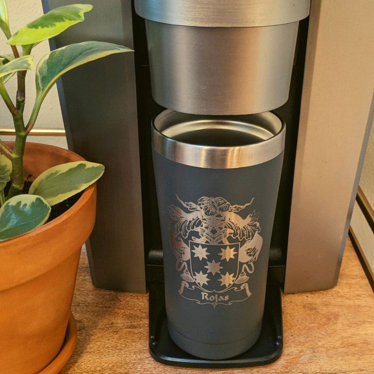 Family Crest Laser Etched Double-Wall 20oz Tumbler