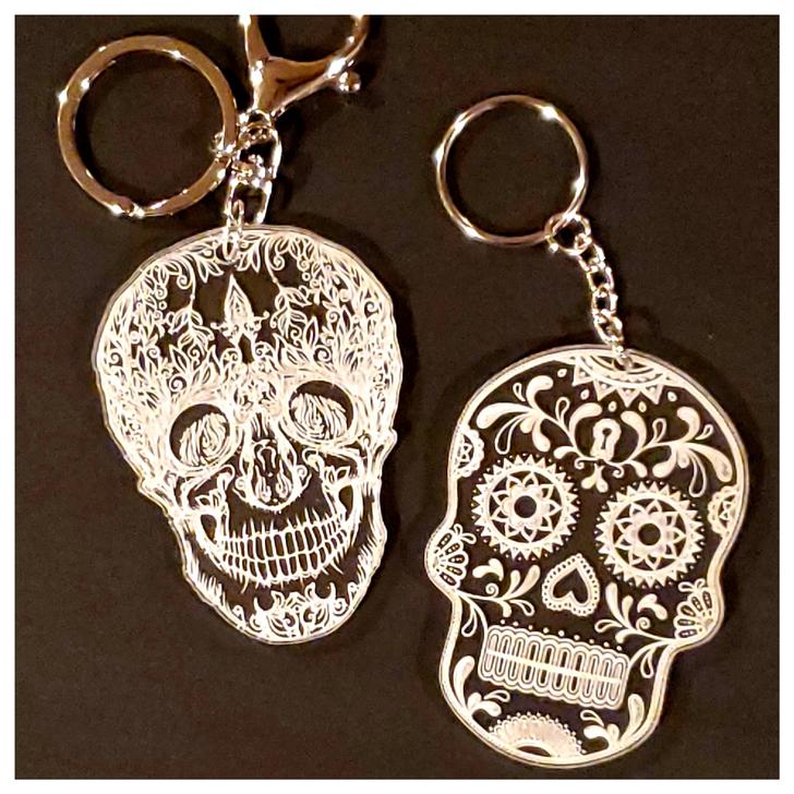 Skull Acrylic Laser Etched Keychain