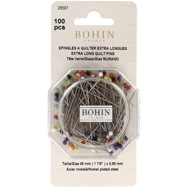 Bohin Glass Head Quilting Pins - Size 30 100/Pkg