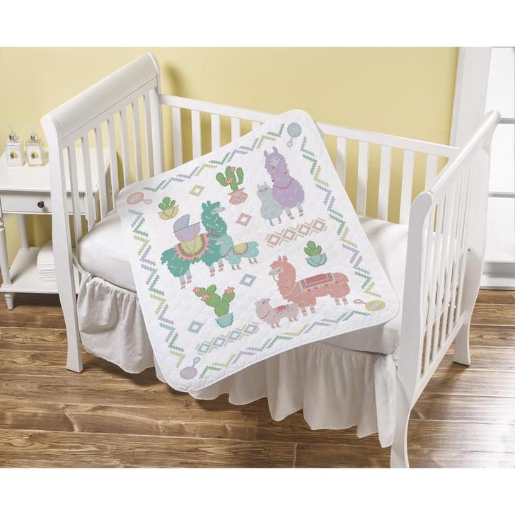 Bucilla Llama Baby Stamped Cross Stitch Crib Cover Kit