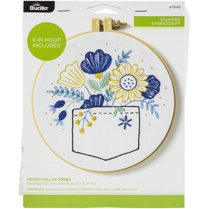 Bucilla Pocket Full Of Posies Stamped Embroidery Kit