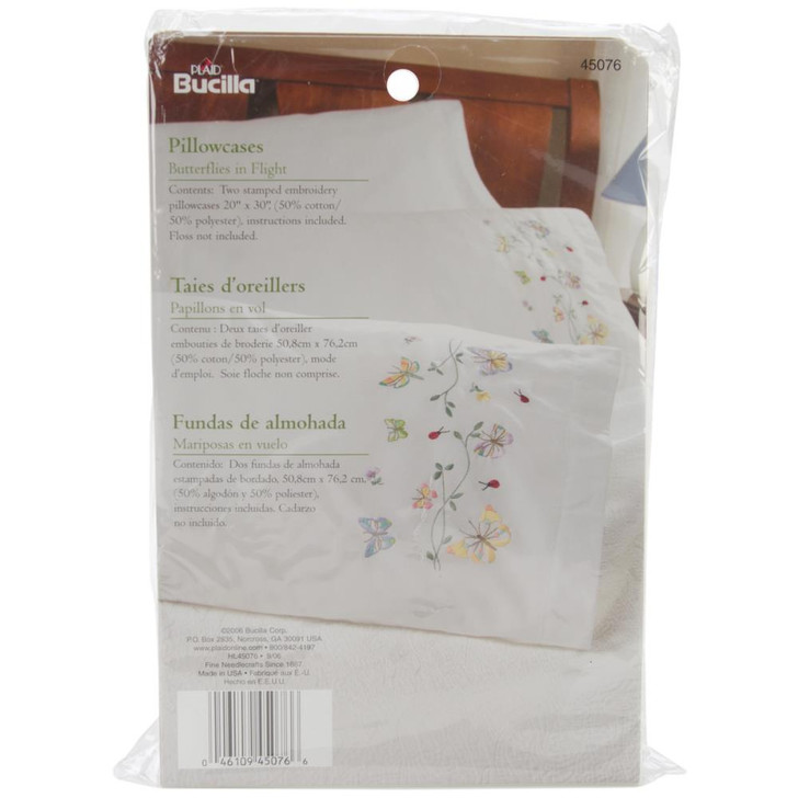 Bucilla Butterflies In Flight Stamped Embroidery Pillowcase Pair