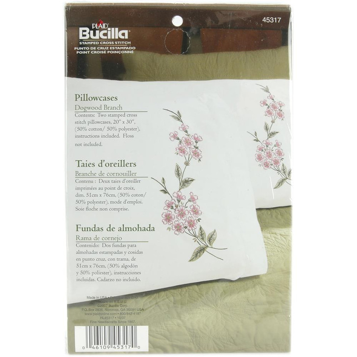 Bucilla Dogwood Branch Stamped Embroidery Pillowcase Pair