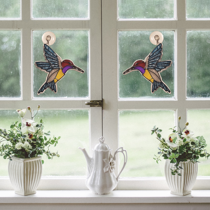 Hummingbird Hand Painted Acrylic Suncatcher ~ Faux Stained Glass