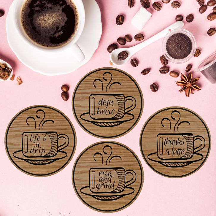Coffee Puns Wooden Coasters Set