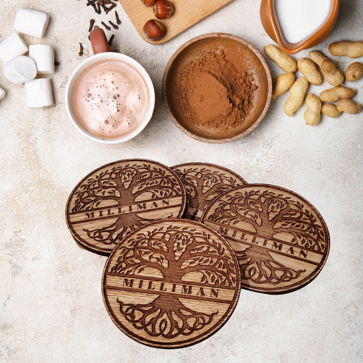 Tree of Life Personalized Wooden Coasters Set