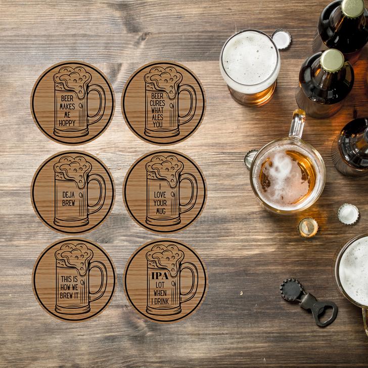 Beer Puns Wooden Coasters Set