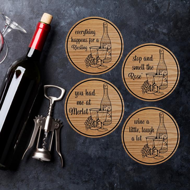 Wine Puns Wooden Coasters Set