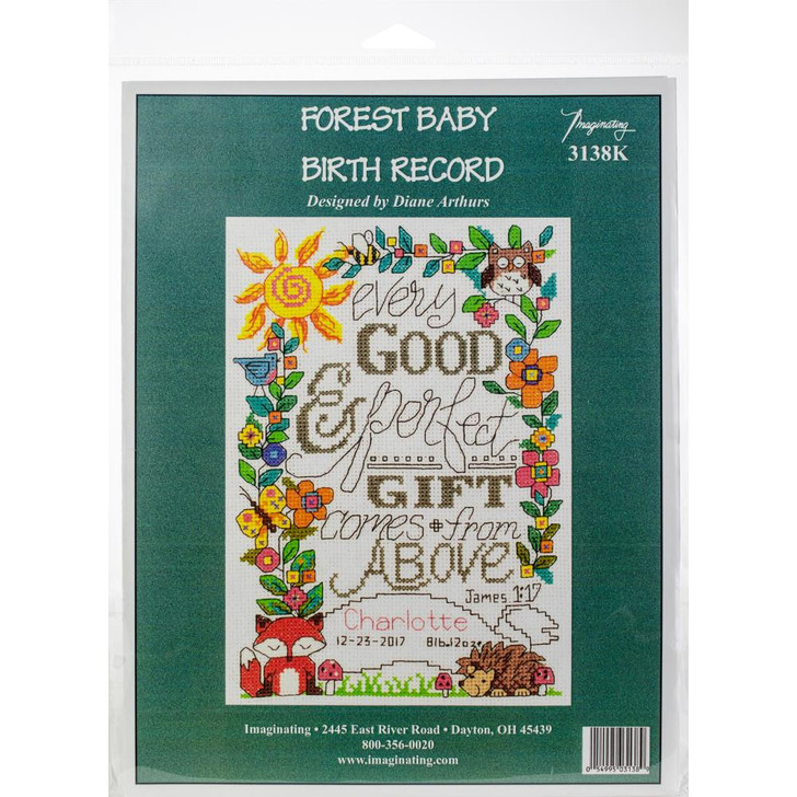 Imaginating Forest Baby Birth Record Counted Cross Stitch Kit