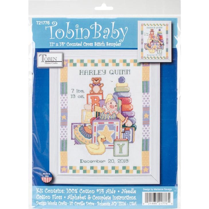 Tobin Toys Sampler Birth Record Counted Cross Stitch Kit