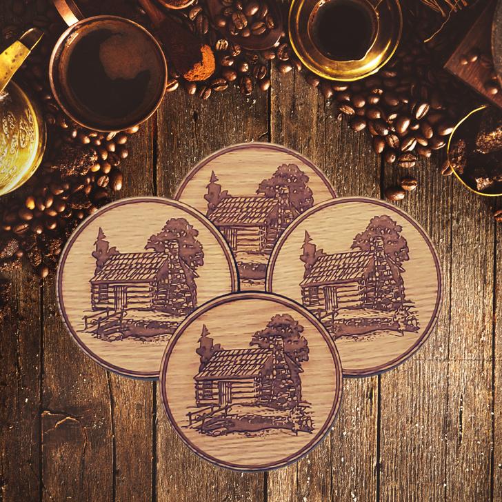 Log Cabin Wooden Coasters Set 4/Pkg