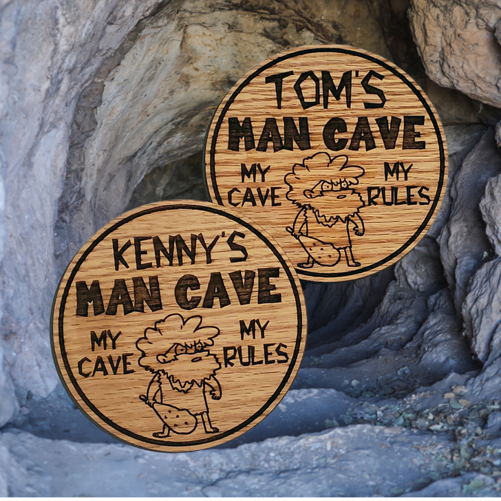 Man Cave Personalized Wooden Coasters Set